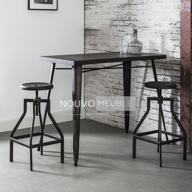 Nouvomeuble Table haute en acier Galva