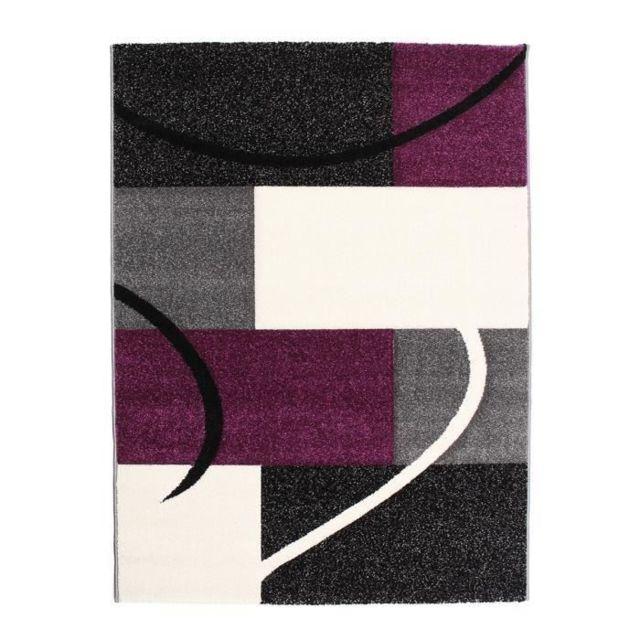 Finlandek - Tapis de salon Loimaa 120x160 cm gris et violet - pas ...