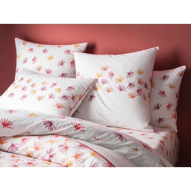 Matt&ROSE - Taie d'oreiller réversible coton feuille tropicale géométrique cuivre Jungle Graphique - 65X65cmNC Orange - 65cm  x 65cm