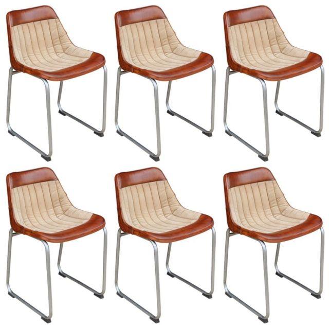 Sans Marque 6 chaises Cuir véritable et toile Marron et beige