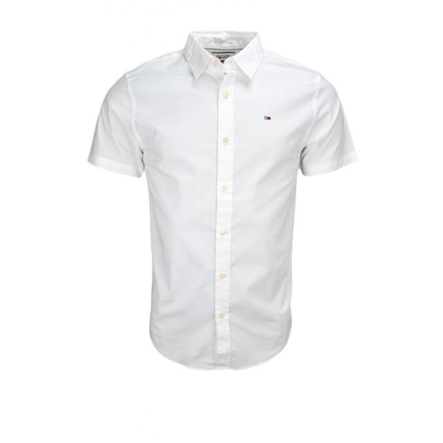 Hilfiger - Chemise manches courtes Tommy Dénim blanche pour homme - pas  cher Achat   Vente Chemise homme - RueDuCommerce 12e20b66fd28