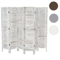 Mendler - Paravent / séparation bois, 6 pans, 276x2x170cm, shabby, vintage, blanc