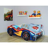 Bebegavroche - Pack complet Lit enfant Voiture Racing Bleue = Lit+Matelas & Parure+Couette+Oreiller