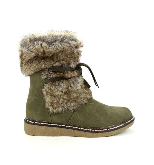 75d1b0af5e5e27 Cendriyon - Bottine fourrée kaki Girlwood - pas cher Achat / Vente Boots  femme - RueDuCommerce