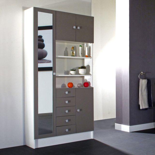 Marque Generique - Armoire avec miroir 4 portes/5 tiroirs/3 niches ...