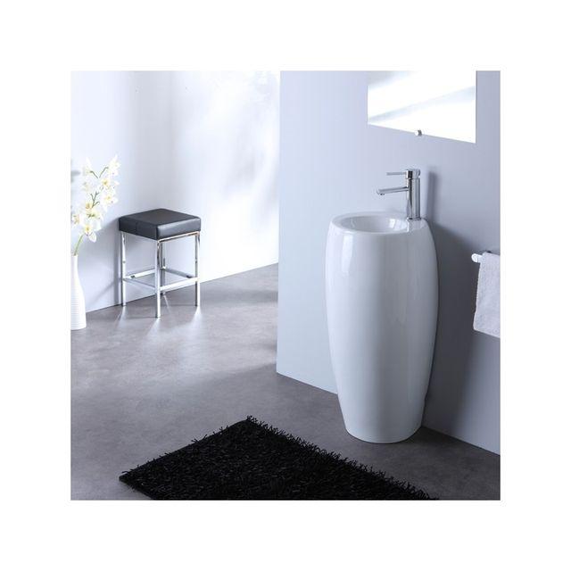 planetebain lave mains sur pied poser rond blanc tr s tendance pas cher achat vente lave. Black Bedroom Furniture Sets. Home Design Ideas