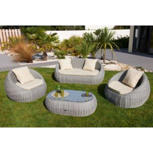 dcb garden salon isa 5 places en rsine tresse ronde luxe gris pas cher achat vente. Black Bedroom Furniture Sets. Home Design Ideas