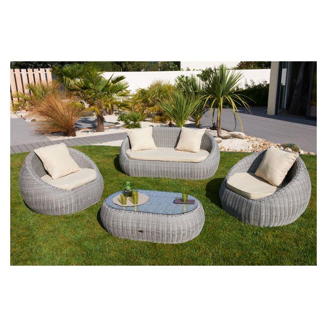 Dcb Garden - Salon Isa 5 places en rsine tresse ronde luxe ...
