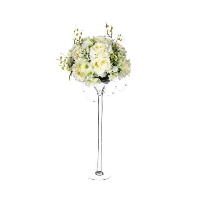 Atmosphera, Createur D'INTERIE Composition roses vase verre H64
