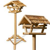 Rocambolesk - Superbe Mangeoire Perchoir Pour Oiseaux - Abri Cabane En Bambou Sur Pied - 103X50Cm neuf