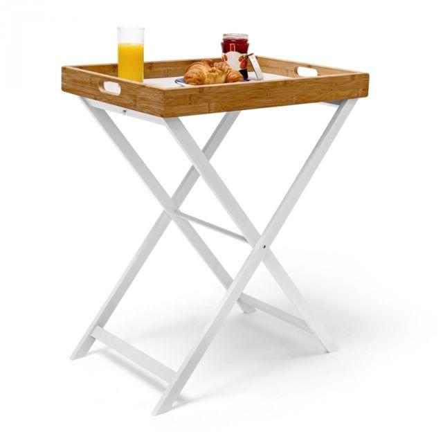 Helloshop26 - Table d'appoint pliable bambou plateau amovible Noir - 1cm x 1cm x 1cm