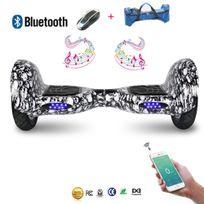 Cool&FUN Hoverboard Bluetooth,Scooter électrique Auto-équilibrage,gyropode connecté 10 pouces Noir carbone Crane mozaique design