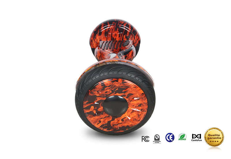 COOL&FUN Hoverboard Bluetooth Tout terrain, gyropode 10 pouces modèle HORSEBOARD Rouge flame