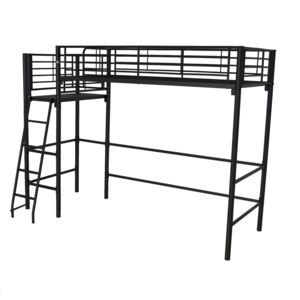 alin a alexy lit mezzanine 1 place noir avec plateforme 90x200cm pas cher achat vente lit. Black Bedroom Furniture Sets. Home Design Ideas
