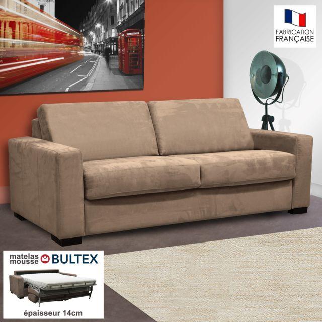 AUTRES Canapé 3 places convertible bultex microfibre coloris sable LOUISA