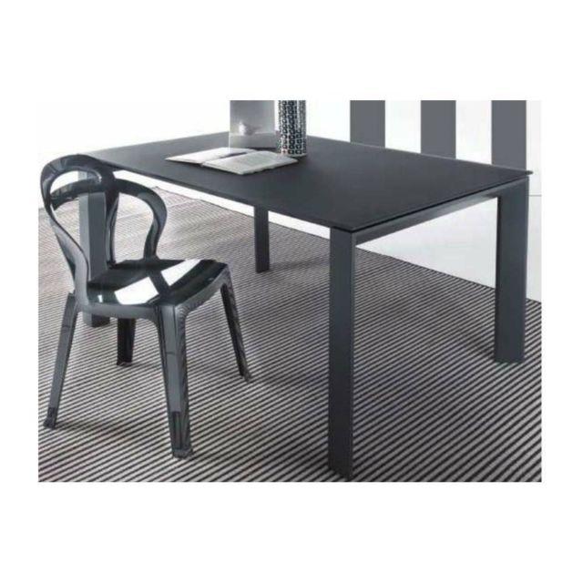 Inside 75 Table repas extensible Sliver en verre trempé gris titane piétement gris titane 120 x 80 cm