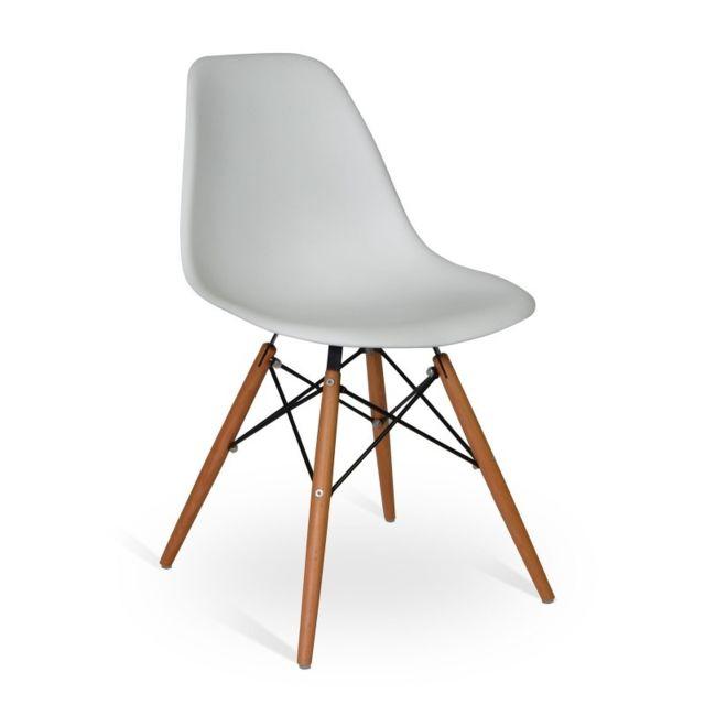Novara Mobili - Pack 4 chaises Wood Style Gris avec pieds en bois de hêtre