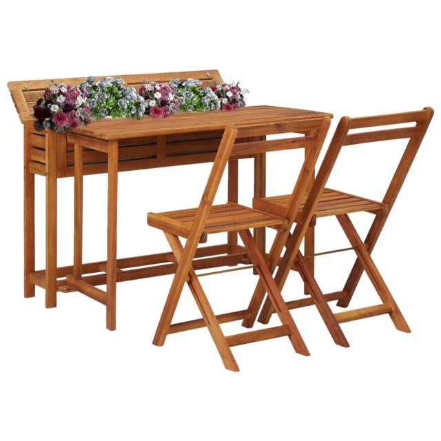 Splendide Mobilier de jardin serie Yamoussoukro Table de balcon avec 2 chaises de bistro Bois d'acacia massif