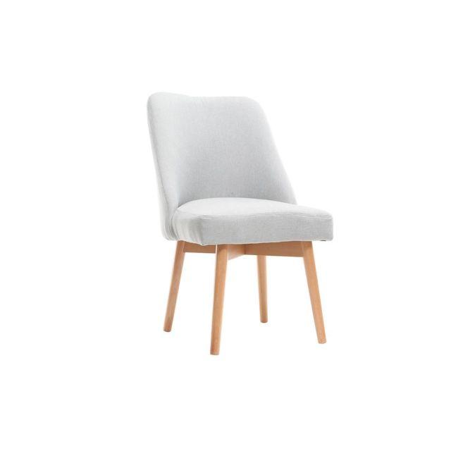 miliboo chaise scandinave tissu gris pieds bois clair. Black Bedroom Furniture Sets. Home Design Ideas
