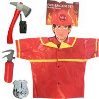 Touslescadeaux - Déguisement Pompier Enfant - set de pompier 5 pièces avec hache, extincteur, insigne, talkie-walkie