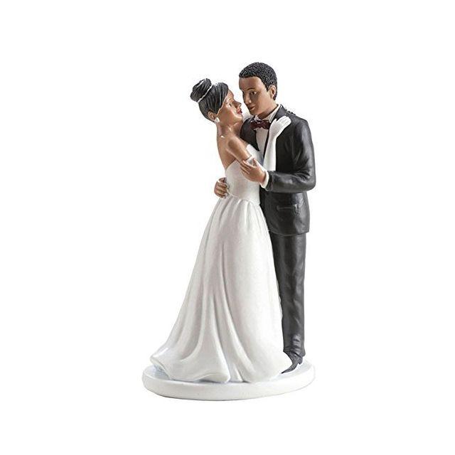 Figurine Couple Marie Noir Decoration Gateau Mariage 041