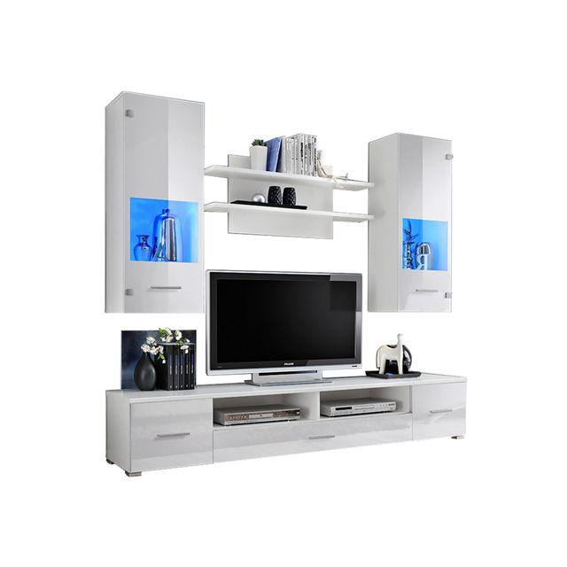Dusine Meuble Tv mural Magnetic Blanc brillant et Blanc mat 200cm