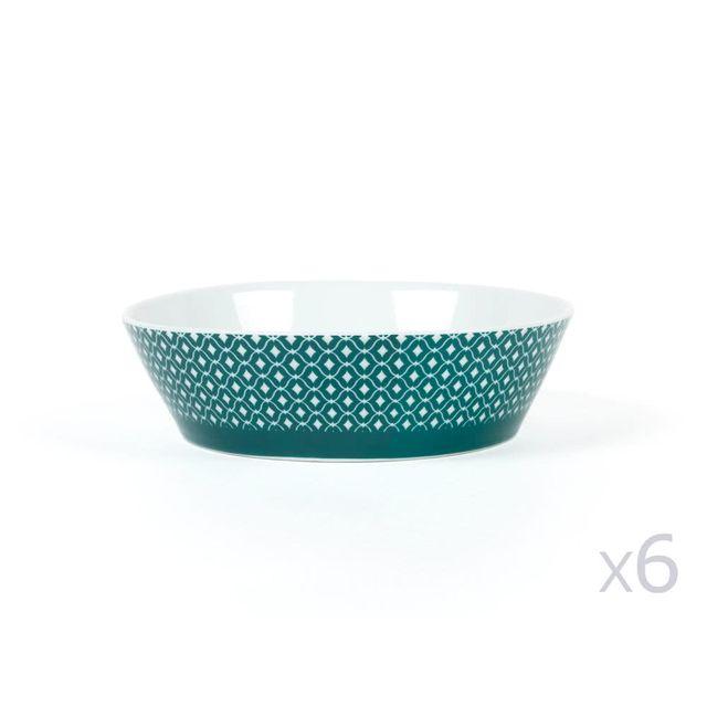 Kaligrafik Assiette creuse / Coupelle en porcelaine D.18cm motif losange Vert/ Blanc - Lot de 6 Wild Nature