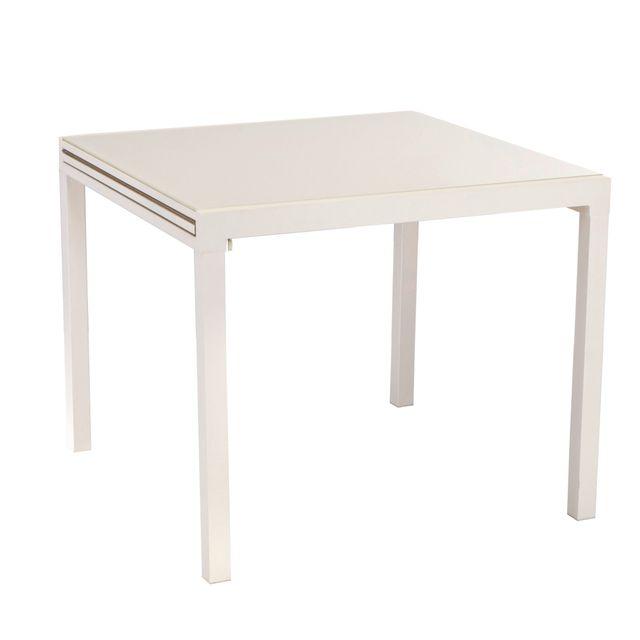 CARREFOUR - TELLO -Table aluminium acier et verre extensible 90/180 ...