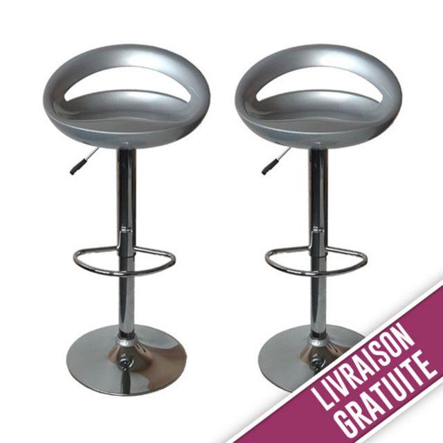 bc349073f4493e New Art - Tabouret de bar Snack gris - lot de 2 - pas cher Achat ...
