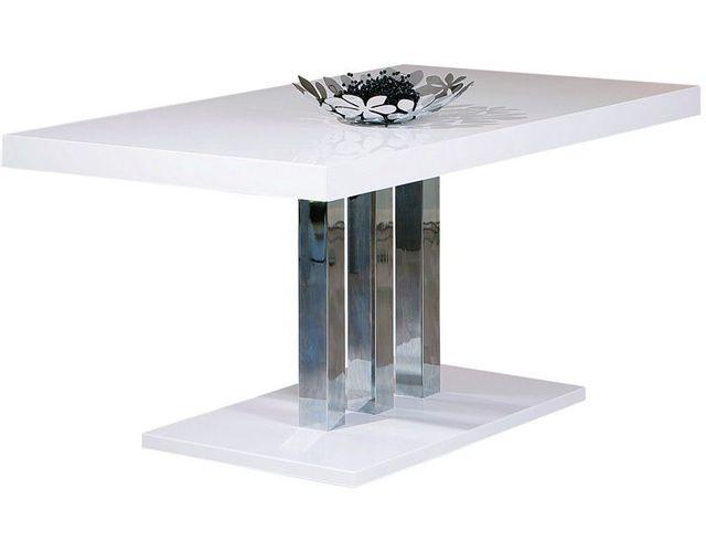 Comforium Table de salle à manger rectangulaire blanc et métal