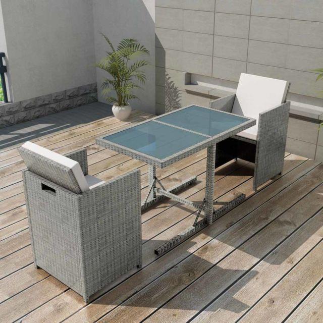 Sans Marque - Ensemble de mobilier de jardin 7 pcs Rotin synthétique ...