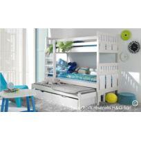 House and Garden - Lit Superpose 3 Couchages En Bois Massif Blanc - Maxi Sans matelas Blanc