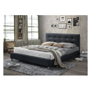 declikdeco lit noir avec t te de lit capitonn e 160 eva. Black Bedroom Furniture Sets. Home Design Ideas