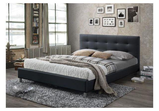 Declikdeco lit noir avec t te de lit capitonn e 160 eva - Tete de lit pas cher design ...