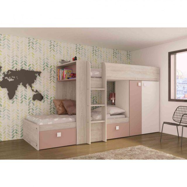 TERRE DE NUIT Lit superposé enfant en bois imitation chêne grisé et rose 90x190 - LT9012