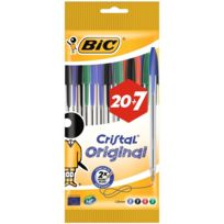 BIC - Lot de 20+7 stylos bille Cristal Original assortis - Pointe moyenne