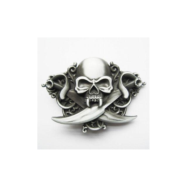 Universel - Boucle de ceinture crane pirate et epée brut tete de mort 5f5d551f3cf