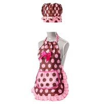 Vigar - Set tablier et toque enfant polyester/coton à pois rose/chocolat 45.5x55cm Lady Girl