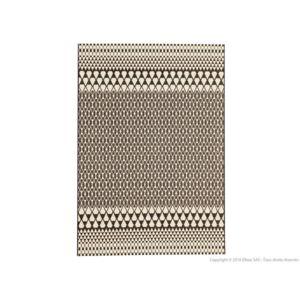 Kaligrafik - Tapis 100% polyropylène effet tissé plat motif scandinave Ebba - Noir - 60x110cm