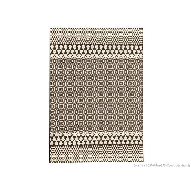 Urban Living - Tapis 100% polyropylène effet tissé plat motif scandinave Ebba - Noir - 60x110cm