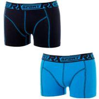 Rx Sport - Lot de 2 Boxers Homme Coton 365 Bleu Noir