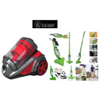 Klaiser - Pack Aspirateur Sans Sac Multi Cyclone Alligator Xtreme Force-Pure Air + Balai vapeur Mop Vert 5 En 1 Multifonctions