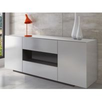 VENTE-UNIQUE - Buffet MALIK - 2 portes & 2 tiroirs - Blanc brillant
