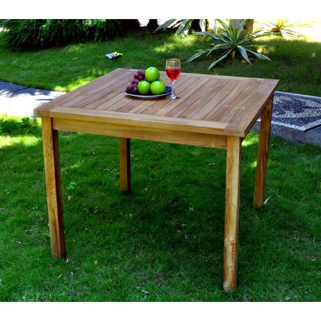 WOOD EN STOCK - Table de jardin en teck huilé, carrée 90 cm ...
