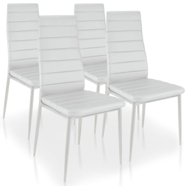 Menzzopremium - Lot de 4 chaises Stratus Blanc