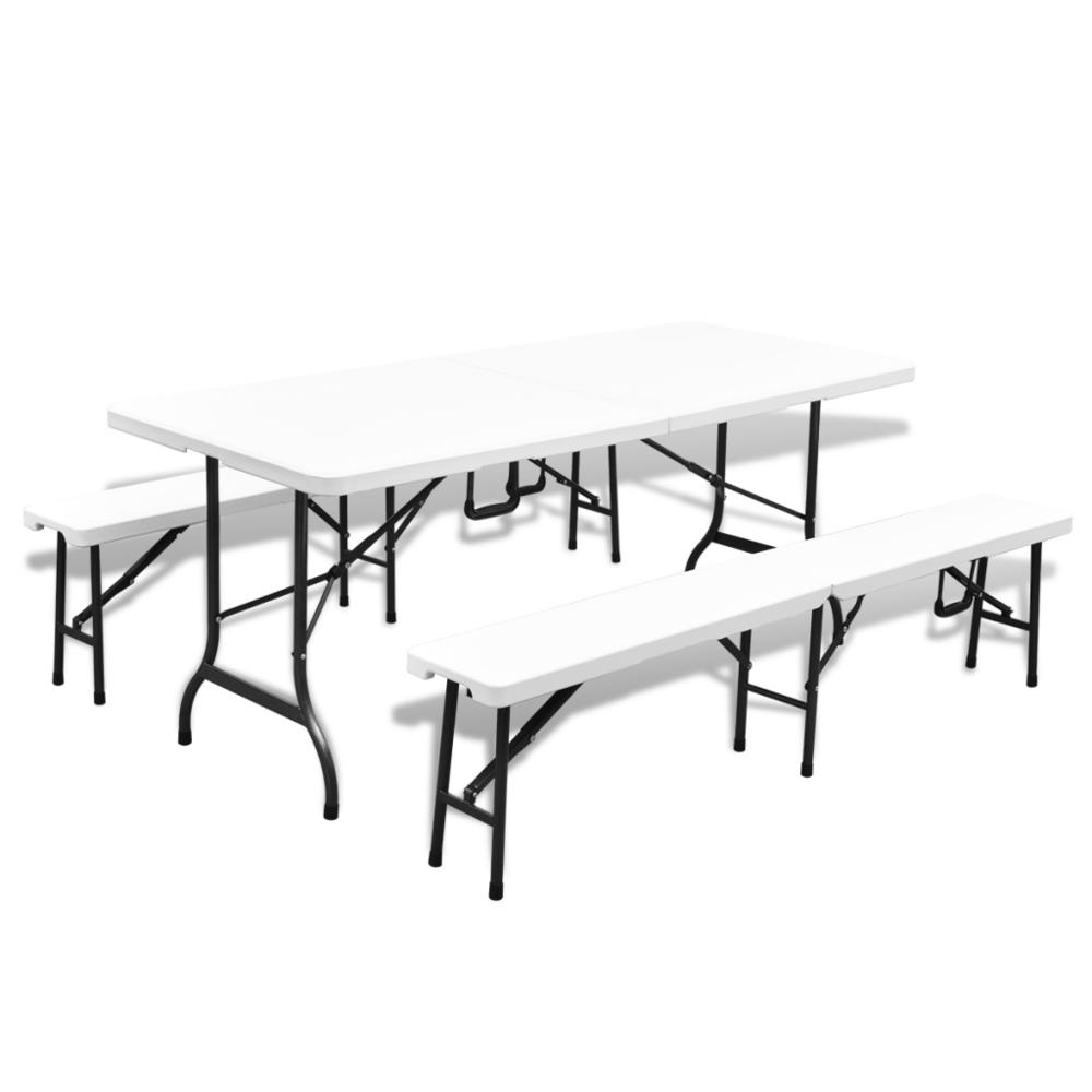Rocambolesk - Superbe Set de jardin pliable blanc 1 table avec 2 bancs en Hdpe 180cm Neuf