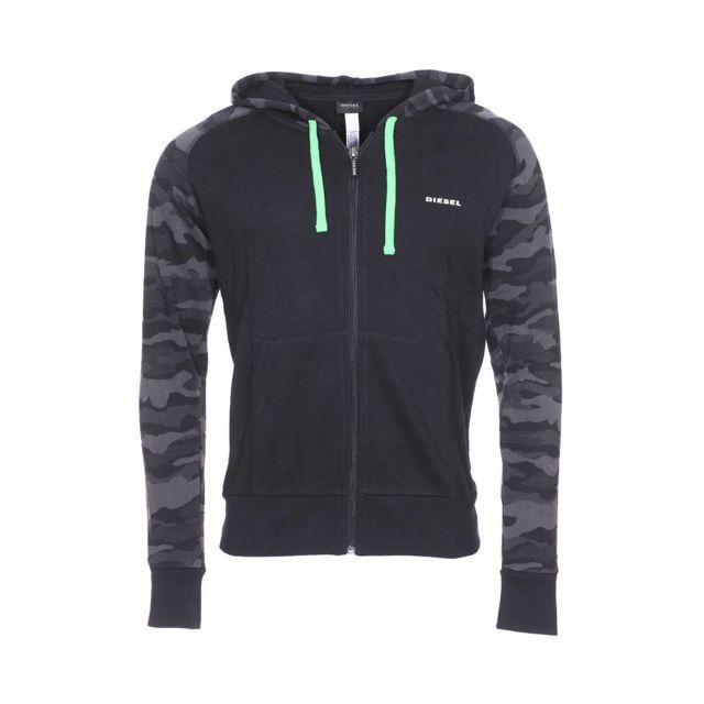 818ad8a4bf0dfa Diesel - Sweat zippé à capuche Brianz noir à manches à motif camouflage -  pas cher Achat   Vente Sweat homme - RueDuCommerce