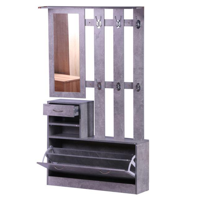 HOMCOM Ensemble de meubles d'entrée design contemporain : meuble chaussures, miroir et panneau porte-manteau panneaux de partic