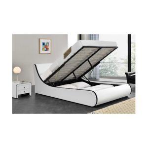 fournier decoration aster lit coffre pu blanc mat liser noir 140x190 cm pas cher achat. Black Bedroom Furniture Sets. Home Design Ideas