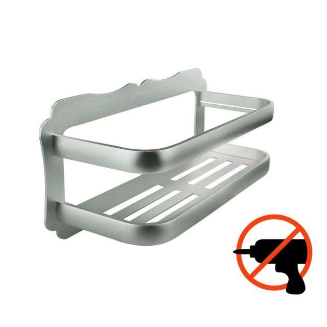 Zeeshop Etag?re de salle de bain en aluminium, longueur 30cm - Fixation sans trou